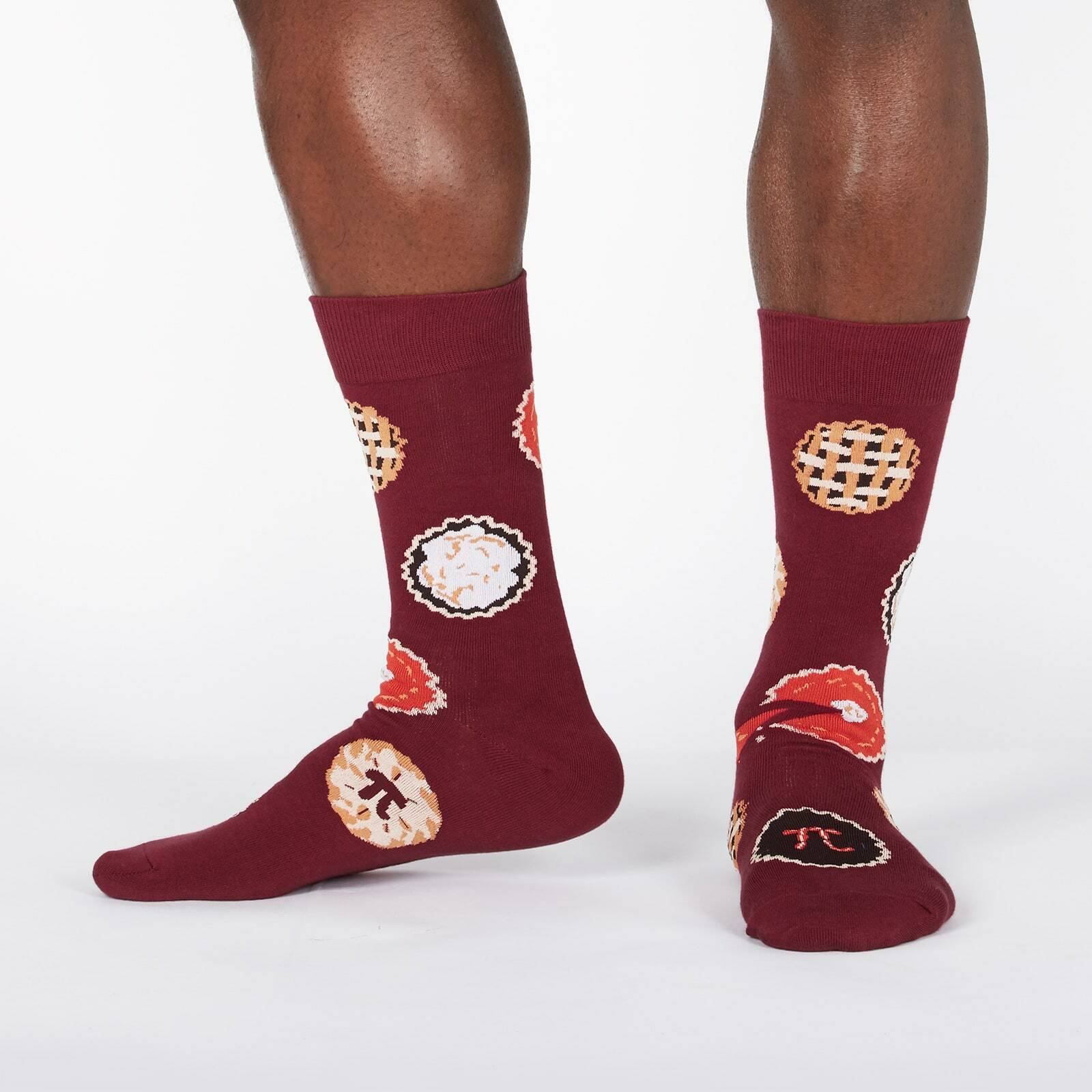 model wearing Easy as Pi - Mathematical Constant and Pies Pi Day Crew Socks Burgundy - Men's