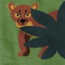 fabric detail of Madagascar Menagerie- Animals of Madagascar Africa Crew Socks Green - Men's