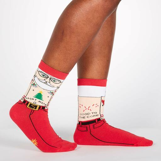 Saint Nick - Funny Tattooed Hipster Santa Claus Crew Socks Red - Women's in Red
