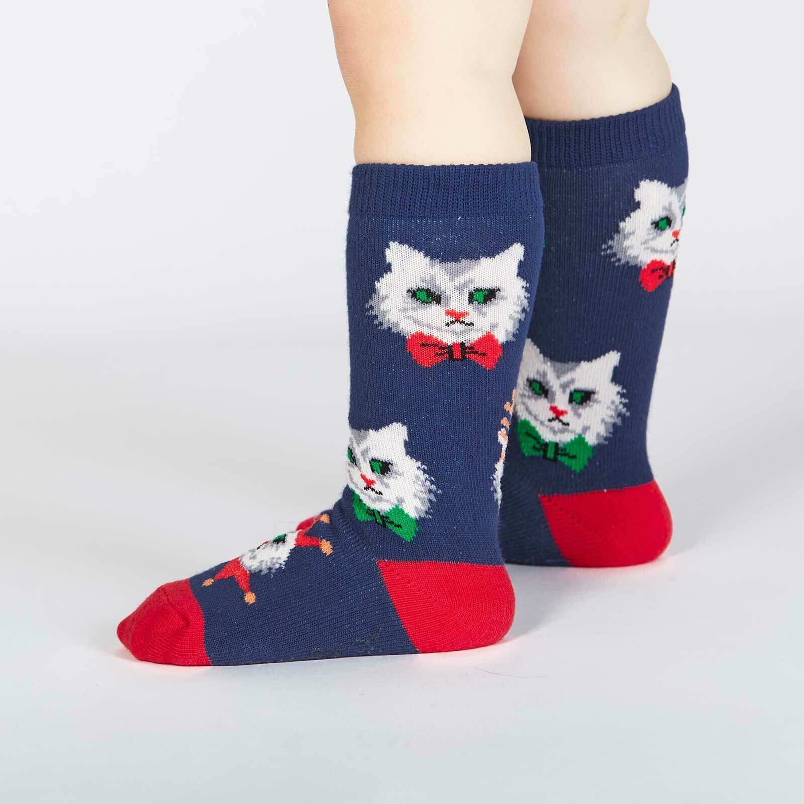 Santa Claws - Frowning Cats Dressed for Holiday Party Knee High Socks Blue - Toddler in Blue