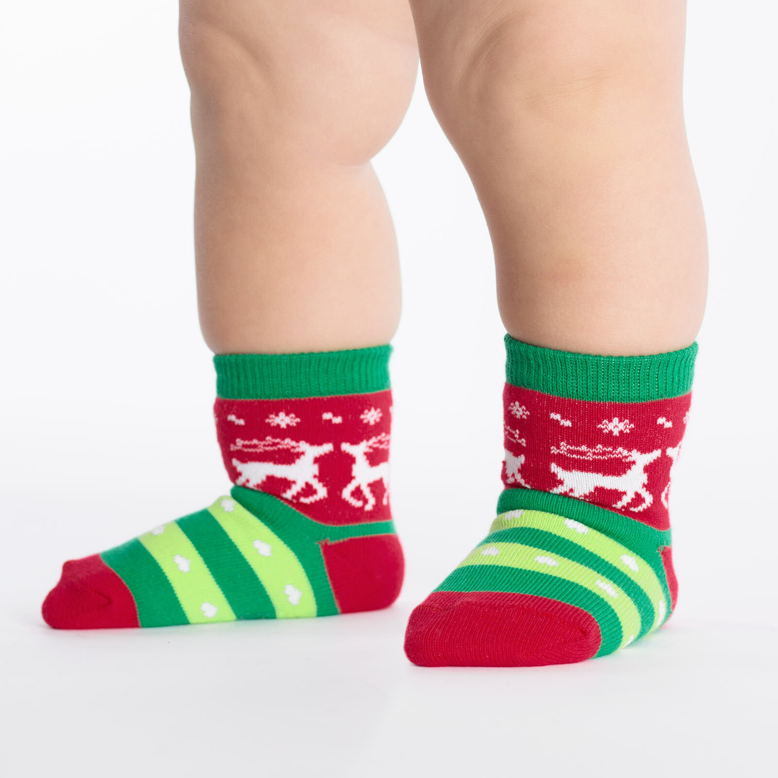 Tacky Holiday Sweater - Reindeer Fair Isle Winter Sweater Crew Socks Red and Green - Toddler in Red