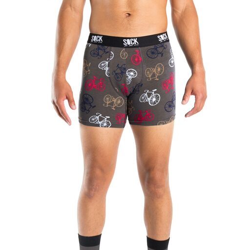 model wearing Large Bikes - Bike Boxer Brief Underwear Black - Men's Sizes S-XL