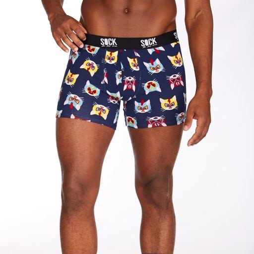 model wearing Gato Libre - Wrestling Cat Boxer Brief Underwear Navy - Men's Sizes S-XL