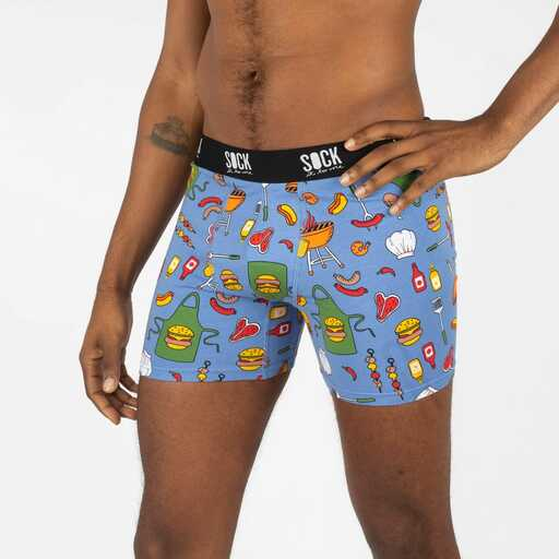 model wearing Light My Fire - Summer Barbecue Grill Boxer Briefs Blue - Men's Sizes S-3X