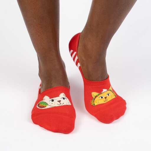 model wearing Taco Cat Large - Funny Animal No Show Socks Red - Unisex
