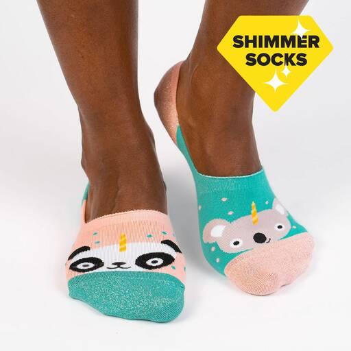 model wearing Beary Sweet Large - Cute Animal No Show Socks Pink - Unisex