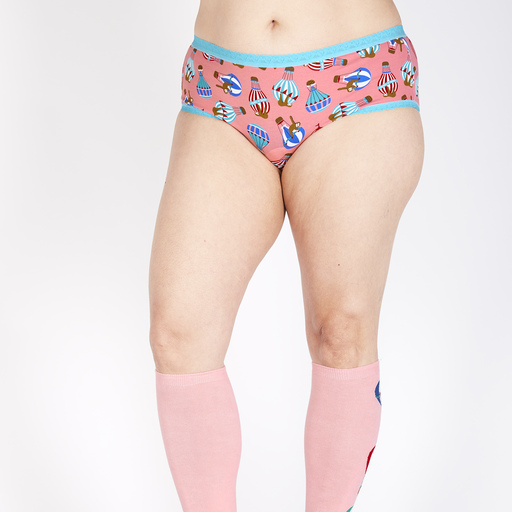 model wearing Hang In There - Sloth Hipster Underwear Pink - Sizes XS-3XL