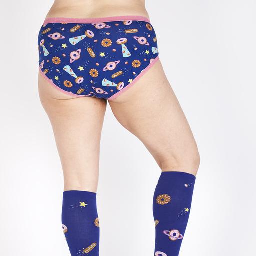 model rear view of Glazed Galaxy - Donut Hipster Underwear Blue - Sizes XS-3XL