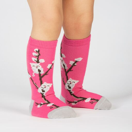model wearing Kitty Willows - Cat Knee High Socks Pink - Toddler