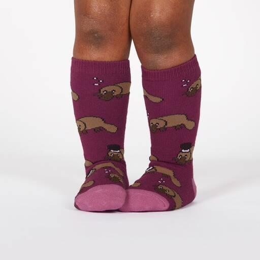 model wearing Plati-tude - Monocle and Top Hat Wearing Platypus Knee High Socks Purple - Toddler