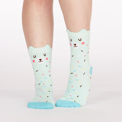 model wearing Bearly Sprinkled - Pop Up Ears - Bear Crew Socks Blue - Women's