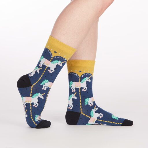 model side view of Carousel Crew Socks Blue and Yellow - Women's