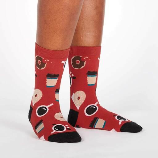 model wearing Coffee Break - Cafe Breakfast Crew Socks Red - Women's