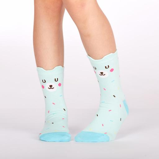 model wearing Bearly Sprinkled - Pop Up Ears - Bear Crew Socks - Youth
