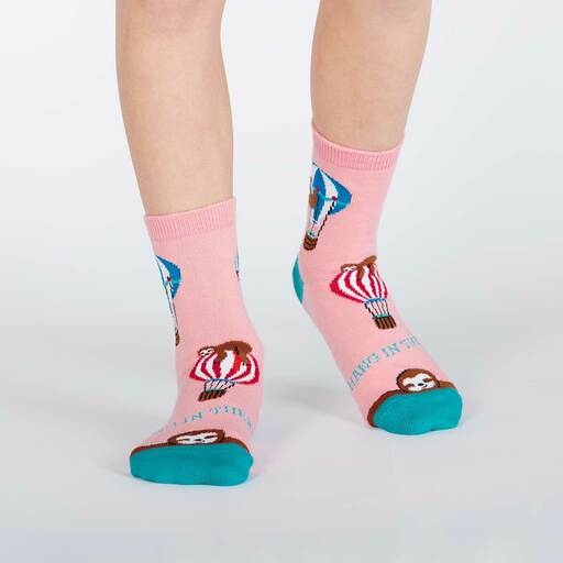 model wearing Hang in There - Sloth Crew Socks Pink - Youth