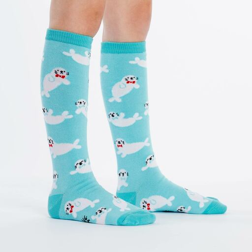 model side view of Baby Seal Knee High Socks Blue - Youth