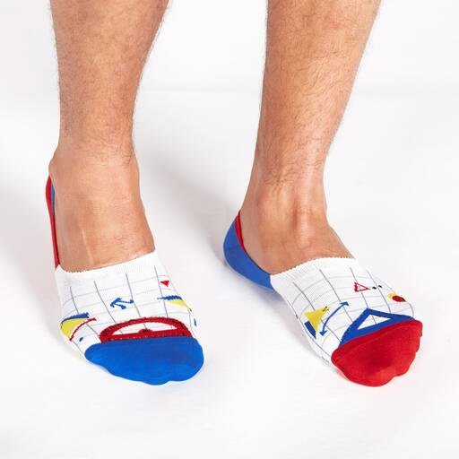 model wearing Math Club - STEM No Show White Socks White, Blue, and Red - Unisex Large